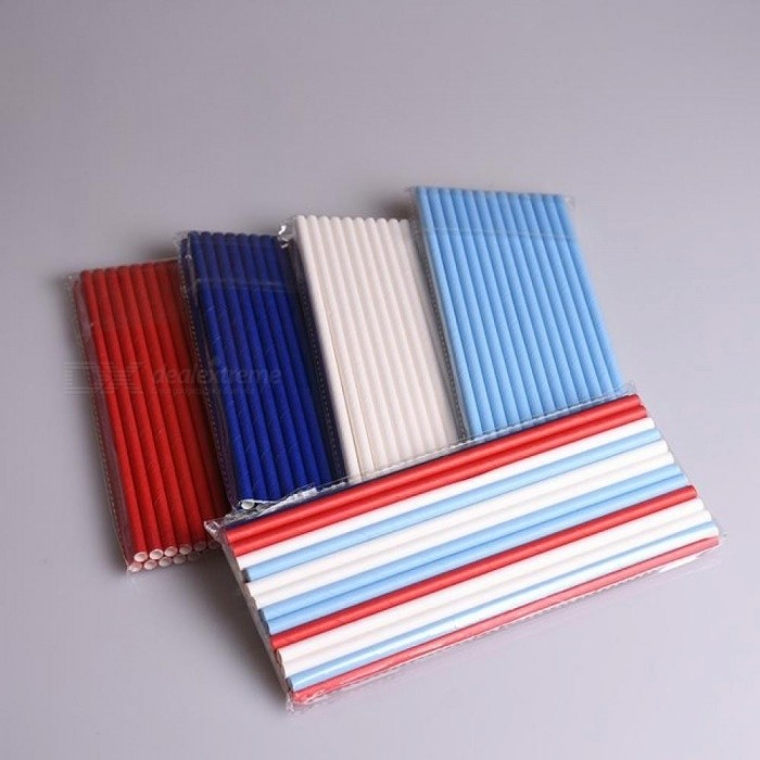 100PCS/Lot Mixed Solid Colors Blue Red White Paper Straws Prom for birthday wedding decorative party Creative Drinking Straws
