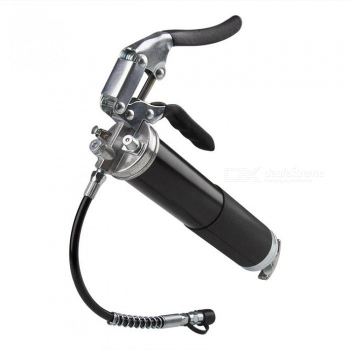 Heavy Duty Professional Quality Pistol Grip Grease Gun, 4500 PSI. Includes Both 12 Inch Flex Hose And 6 Inch Rigid Extension