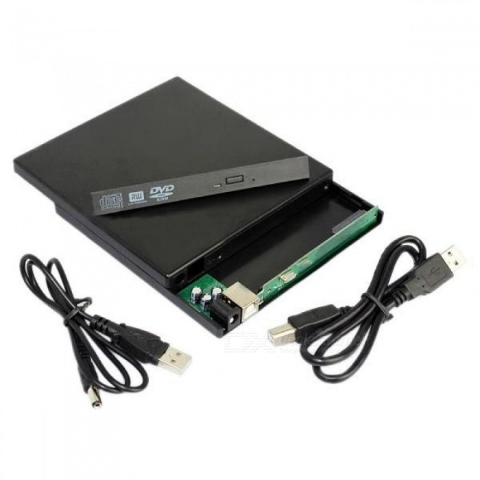 Full Compatible With USB 2.0/USB 1.1 Laptop USB to Sata CD DVD RW Drive External Case Caddy With Black Color