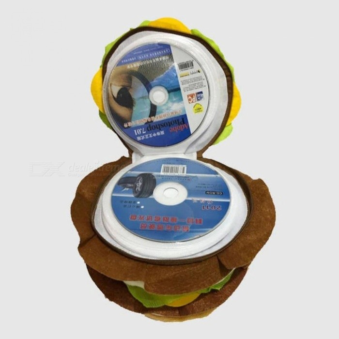 CD Case Double Burger CD Pack Cartoon Plush Toys 40 Disc Capacity Can Be Stored CD VCD DVD CD-R CD-RW