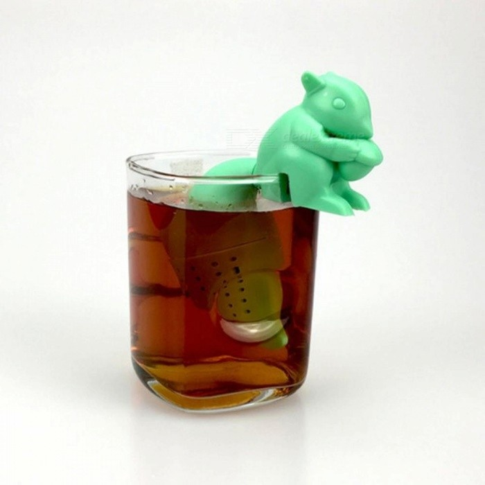 Tea Infuser Silicone Cute Squirrel Shape Tea Coffee Loose Leaf Strainer Bag Mug Filter Teapot Teabags Drinkware Gifts