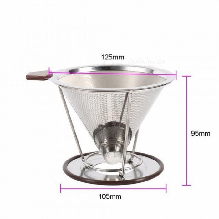 Portable Stainless Steel Tea Coffee Filter Dripper Reusable Funnel Espresso Coffee Dripper Pour Over V-type Filter Cup Tea Tools