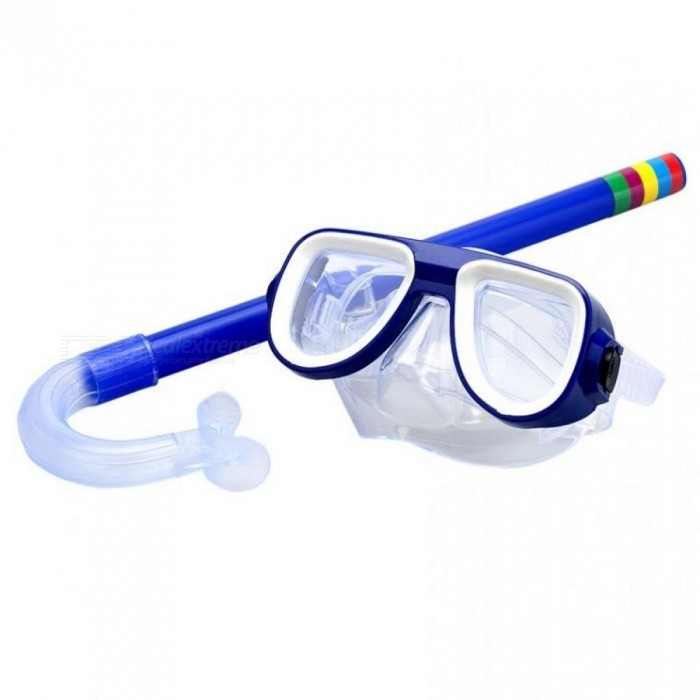 Child Diving Snorkeling Mask Swimming Scuba Total Dry Snorkel and Mask Glass Lens PVC 4 Color Child Diving Glasses