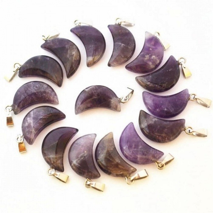 Fashion Natural Stone Amethyst Pendants Purple Crystal Charms Crescent Moon For Jewelry Making 36 PCS