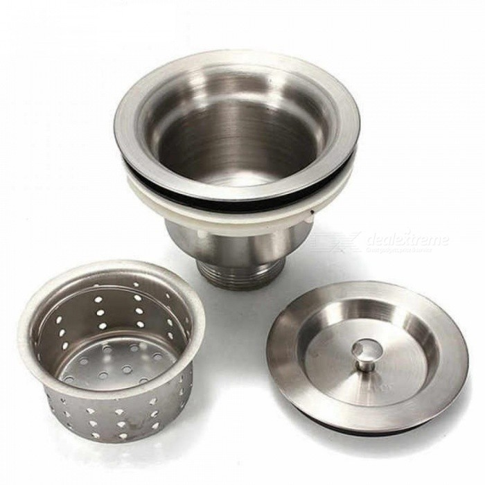 Stainless Steel Kitchen Sink Drain Assembly Waste Strainer and Basket Strainer Stopper Waste Plug Sink Filter