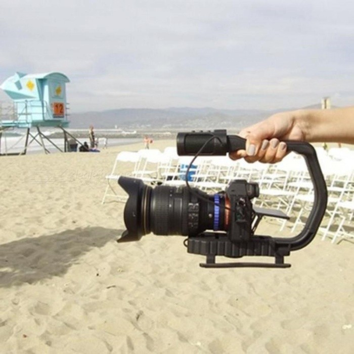 Light-Weight DV Video Stabilizer With Built-In Microphone Stereo For DSLR Cameras DV GoPro Smartphone Video Recordings