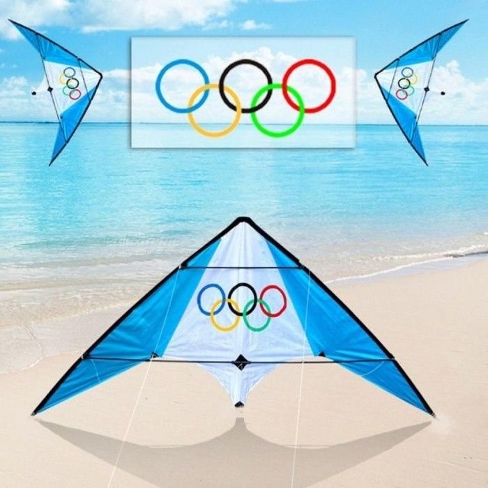1.9M Dual Line Stunt Kites With Handle Line Weifang Kite Factory Outdoor Flying Toys Albatross Kite Blue White