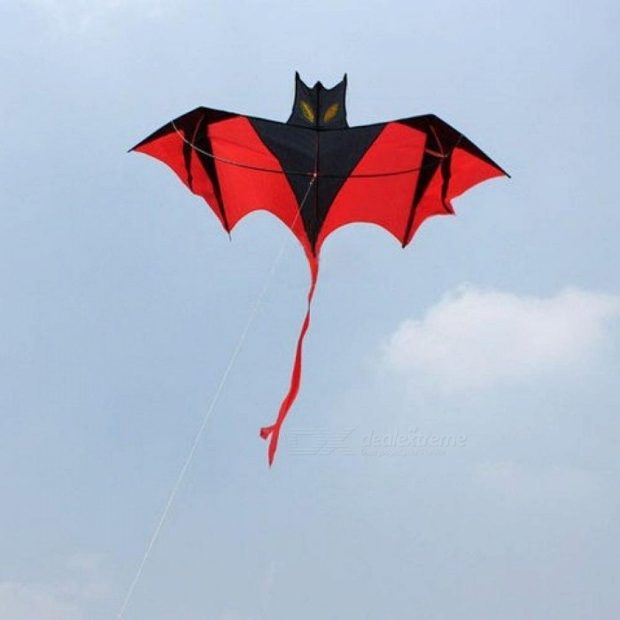 1.8 M Red Bat Power Kite Resin Rod With Kite Handle And Line Good Flying Bat Design With Black Red Color