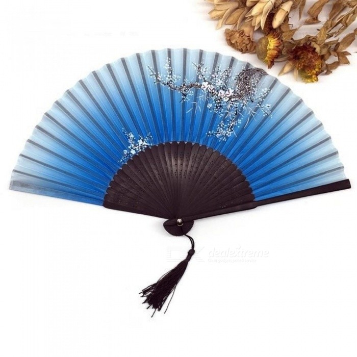 1PCS Vintage Chinese Spun Silk Flower Printing Hand Fan Folding Hollow Carved Hand Fan Event & Party Supplies