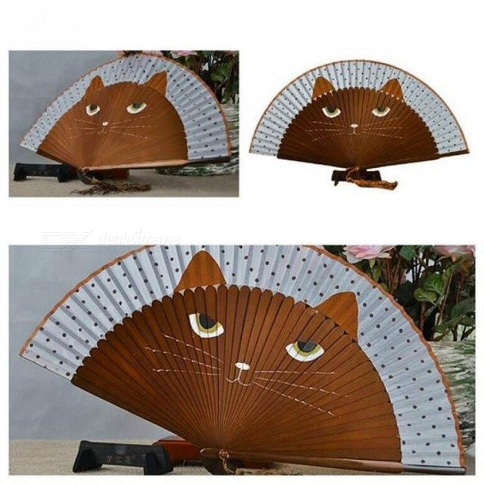 Summer Cute Cat Silk Bamboo Hand Painted Cartoon Cat Folding Fan Party Favors Coffee&Black Color Optional