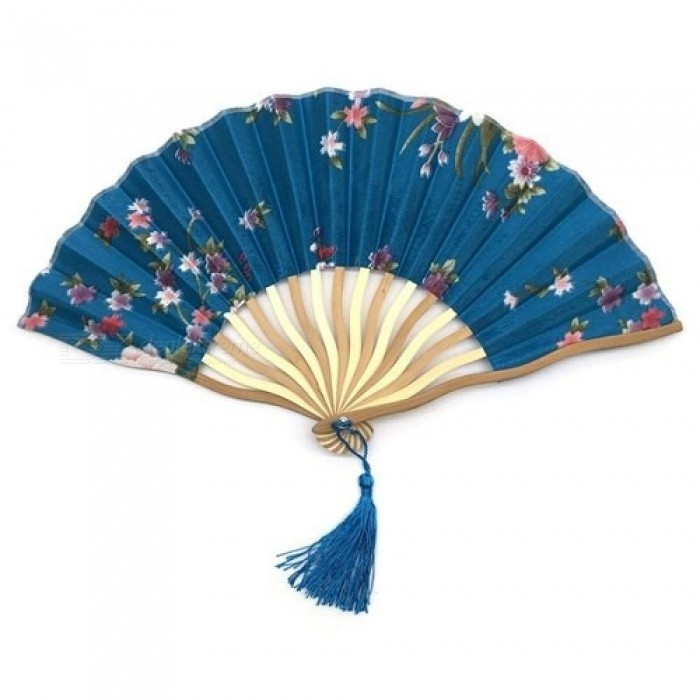 Dancing Wedding Party Decor Fan Chinese Japanese Flower Blossoms Folding Carved Hand Fan with Tassel For Gift
