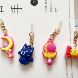 Hot Sell Valuable Cute Sailor Moon Phone Anti Dust Plug Cell Phone Accessories For Iphone4 5 6 3.5mm Earphone Jack Plug Moon