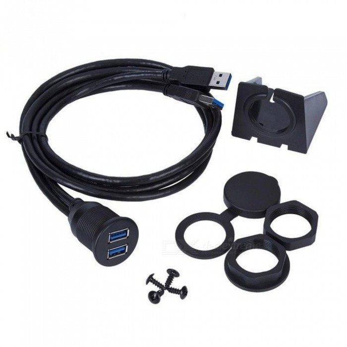 1M Dual USB Socket Extension Cable Car Van Dashboard Flush Mount 2 USB Plug Lead Panel Data Cord Motorcycle Wire Charger