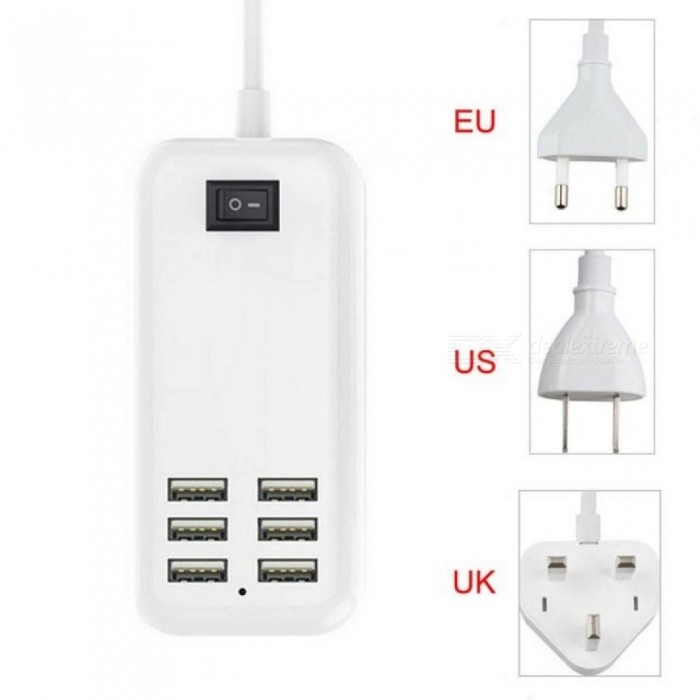 5V3A 6 Ports Fast Charger USB Desktop Adapter Charger Power Travel  Phone Charging US UK EU Plug 1.5m Power Cord For iPhone