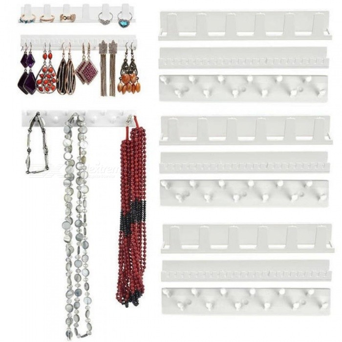 Jewelry Display Hanging Earring Necklace Ring Hanger Holder Rack Sticky Hooks 9X With White Color Plastic