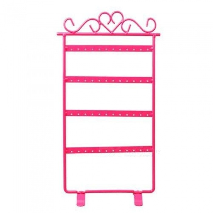White/Pink/Black 33cm Earring Holder 48 Hole Rack Jewelry Iron Wall Frame Necklace Holder Accessories Base Storage For Jewelry
