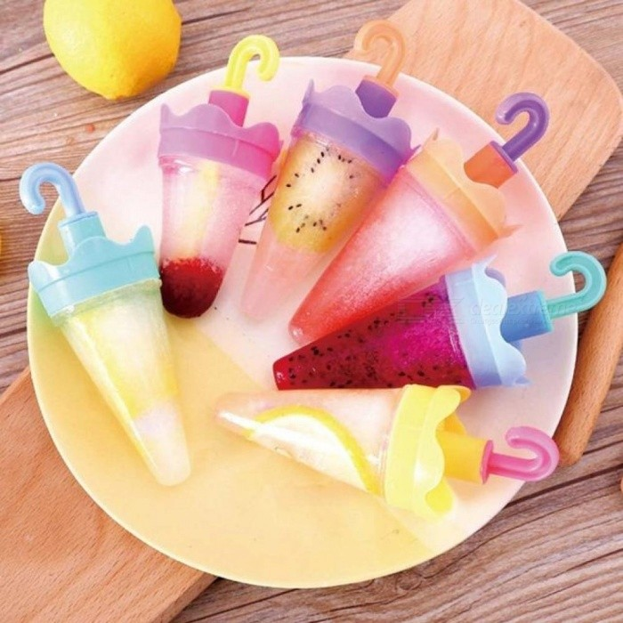 4PCS/Set  Umbrella Shaped Ice Cream Molds Popsicle Ice Cube Tray Maker PP Frozen Ice Cube Sticks Lolly Mould Cooking Tools