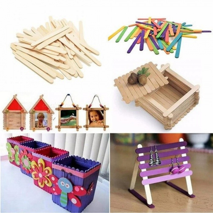 Wooden Popsicle Stick Creative Geometric Shape Personalized Jigsaw Kids Hand Crafts Art Ice Cream Lolly Cake DIY Puzzle 50 PCS