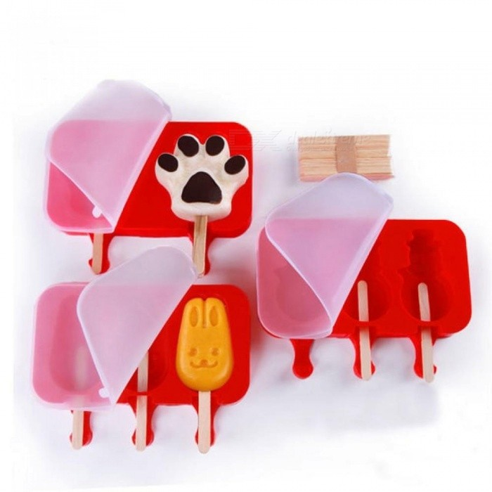 2/3 Cells DIY Frozen Ice Cream Mold Silicone Popsicle Maker Holder With Wooden Sticks Ice Lolly Mould Tray Pan Kitchen Tools