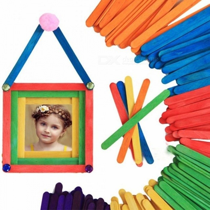 50pcs/Pack Ice Cream Stick DIY Handmade Wooden Toys Strip Material Lolly Sticks Wooden Stick For Ice Cream Maker