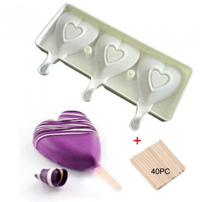 3 Cell Heart Shaped Silicone Frozen Ice Cream Mold Juice Popsicle Maker Children Pop Mould Lolly Tray 40 Wooden Sticks Wooden Sticks