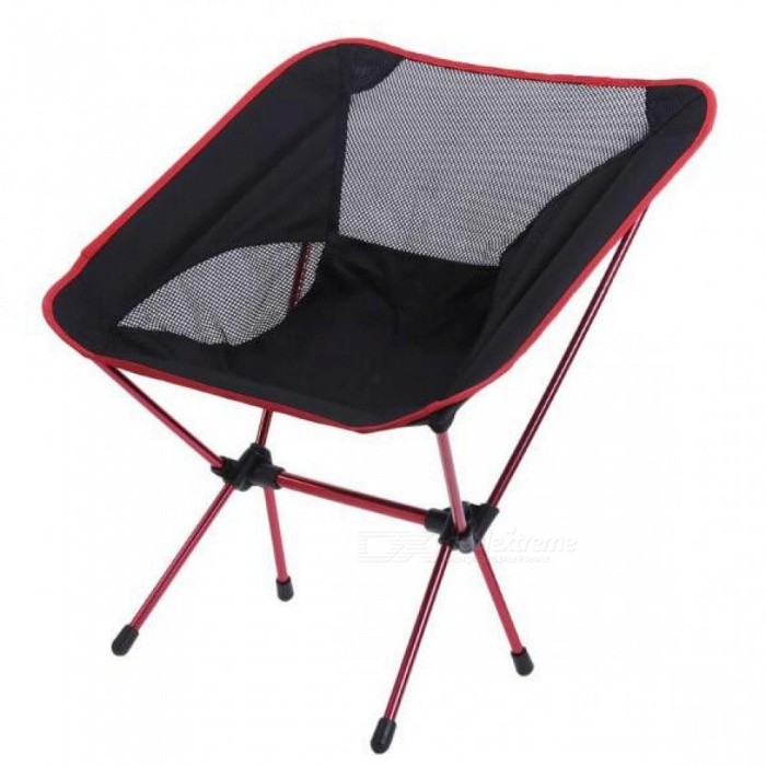 Lightweight Folding Camping Chair Portable Outdoor Fishing Seat for Foldable Picnic BBQ Beach Party with Bag Red