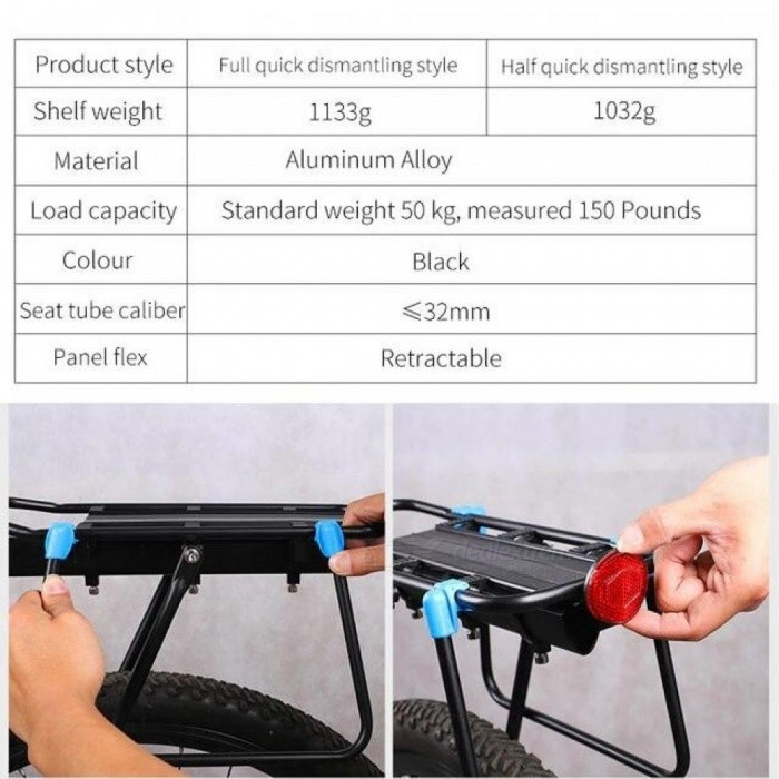 Bicycle Luggage Carrier Cargo Rear Rack 20-29 Inch Bikes Install Tools Shelf Cycling Seatpost Bag Holder Stand Racks