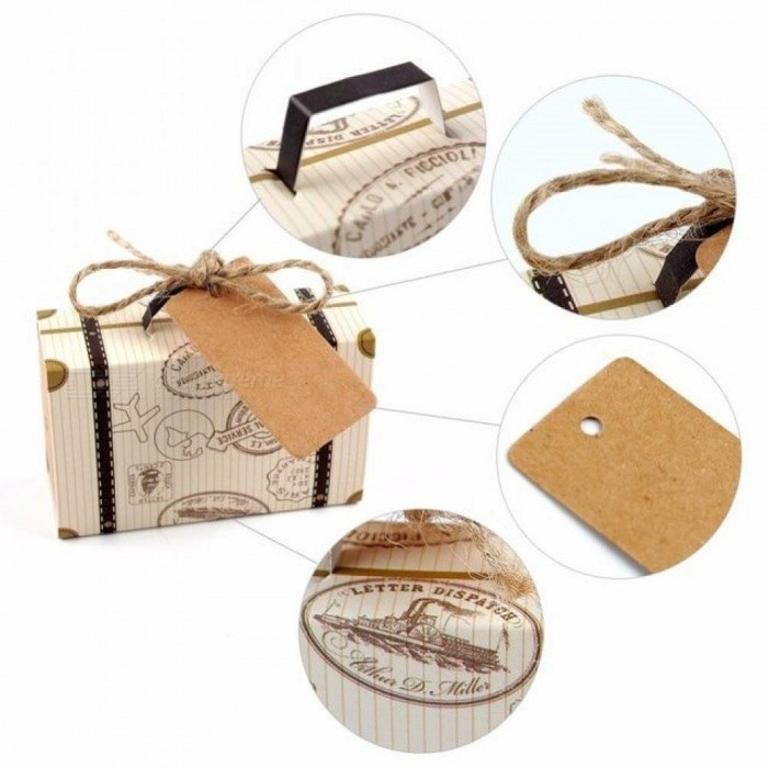 Europe Suitcase Candy Box Wedding Favors Travel Paper Gift Boxes with Card & Burlap Birthday Event Party Supplier 10pcs