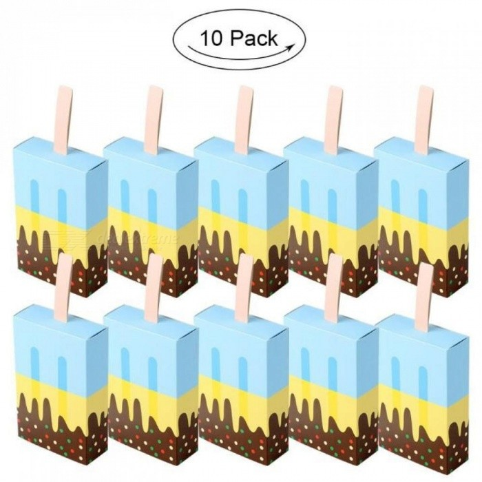 Ice Cream Shape Gift Boxes Baby Shower Birthday Party Candy Box Cartoon Drawer Gift Bag for Kids Party Favor Box 10pcs