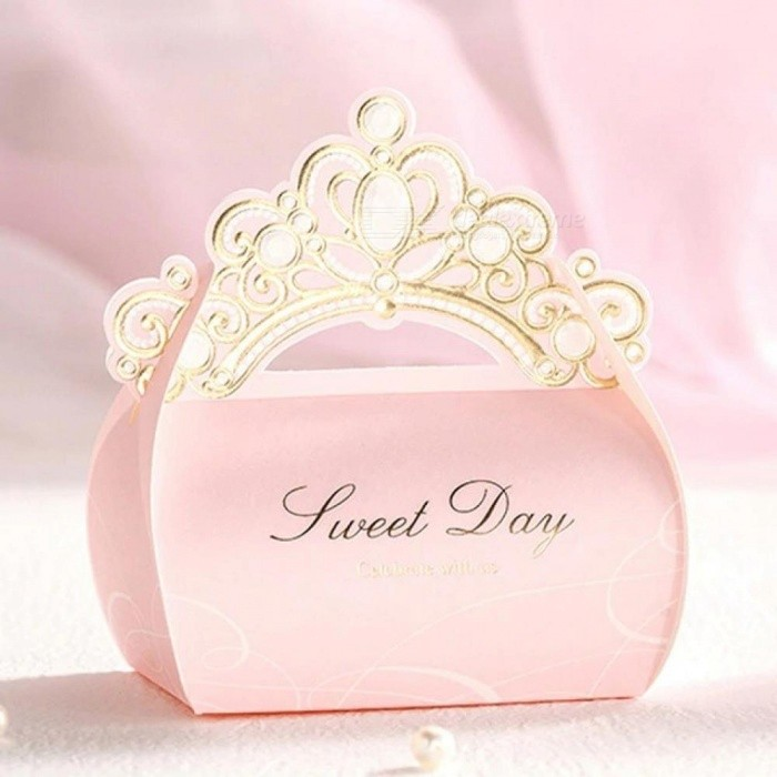 Gold Foil Crown Shiny Pink Candy Box Wedding Decorations Bridal Favor Birthday Party Favors Gift Box 20 pieces/Lot