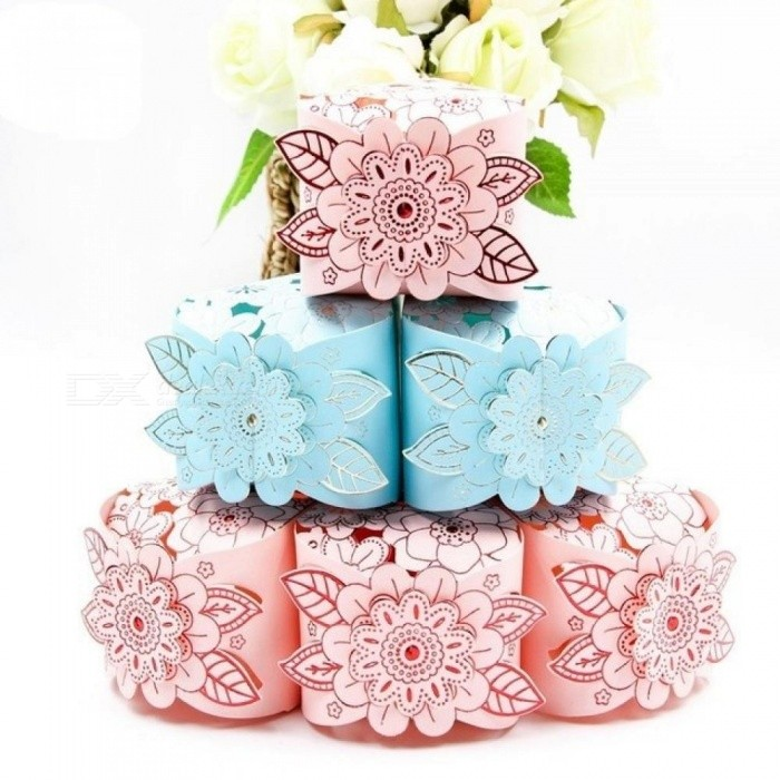 Wedding Candy Box Romantic Pink Tiffany Blue Paperboard Crafts Exquisite Wedding Favors and Gift Boxes Party Supplies 10pcs/Lot