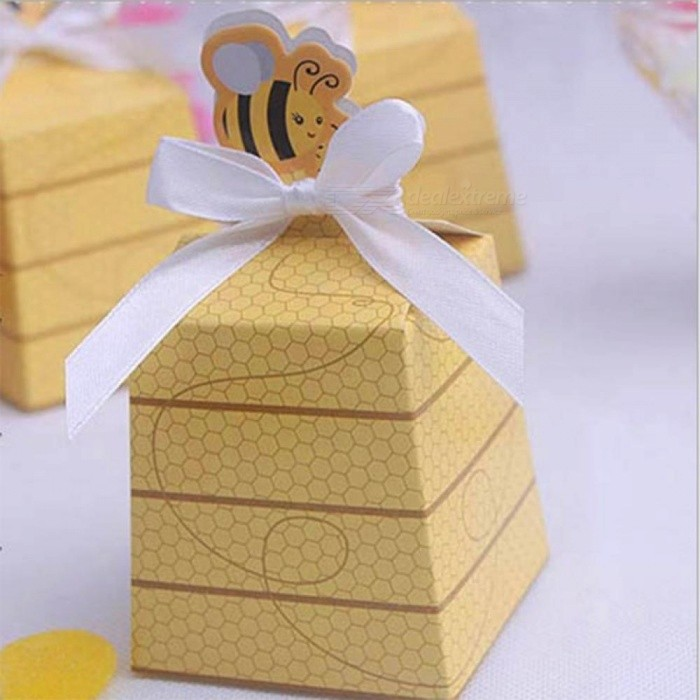 Yellow Bee European Style Favors Candy Boxes Gift Box with White Ribbons Baby Shower Wedding Birthday Party Supplies 10PCS