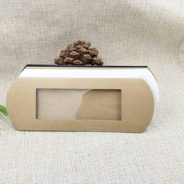 16*7*2.4CM Brown/White/Black Cardboard Pillow Window Box With Clear PVC For Products/Gifts/Favors/Display Packaging Show