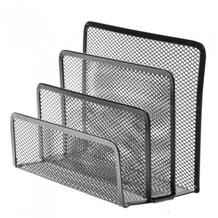 Mesh Letter Sorter Mail Document Tray Desk Office File Organiser Holder Metal Material With Black Color Mesh - Worldwide Free Shipping - DX