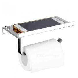 Stainless Steel Roll Tissue Towel Toilet Paper Holder With Phone Shelf For Kitchen Bathroom Accessories Products Bath Shower Silver