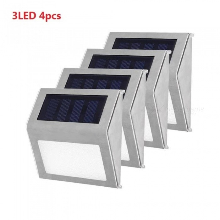 Stainless Steel 3 LED Solar Light Waterproof Outdoor Garden Solar Power Lamp Energy Saving Courtyard Pathway Wall Lights 1-4PCS