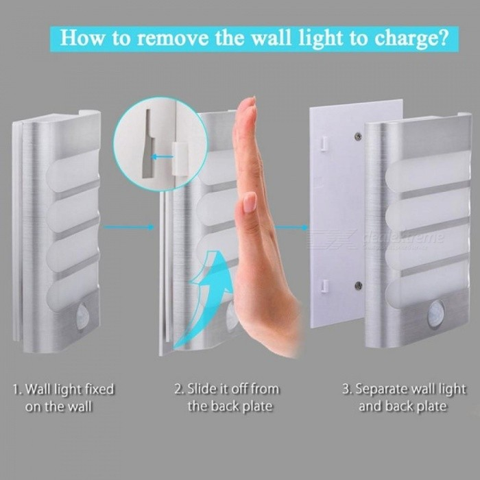 Rechargeable Night Light with Motion Sensor LED Wireless Wall Lamp Night Auto On/Off for Kid Hallway Pathway Staircase 18650