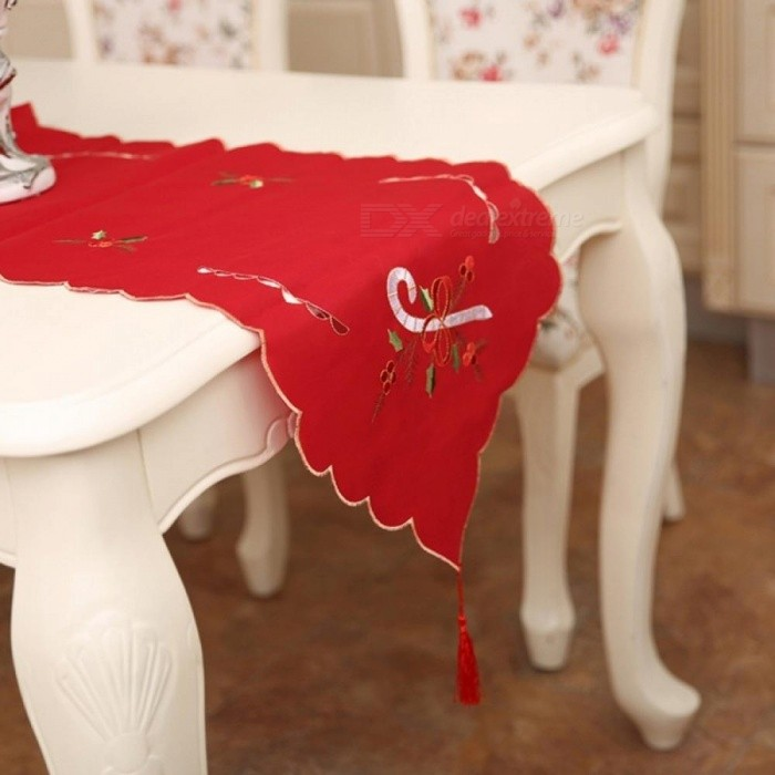 Christmas Table Satin Embroidery Tablecloth Creative Craftwork Placemat Red Table Flag Cloth Covers For Home Decor