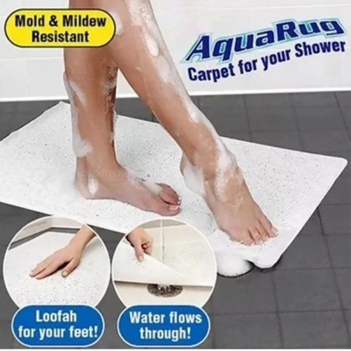 Non-Slip Grip Bathroom Mat Fast Drying Hydro Toilet Mat Shower and Bath Rug Great for Elders and Children White Bathroom Carpet
