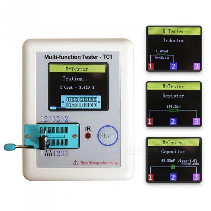 Transistor Tester TFT Diode Triode Capacitance Meter LCR ESR NPN PNP MOSFET LCR-TC1 3.5 Inches White Color