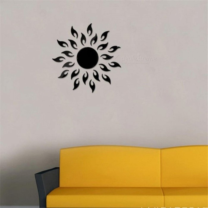 3D Wall Stickers Mirror Home Decor Luxury Sunflower Cool Mirrors Wall Stickers Children Bedroom Living Room Romantic Decals