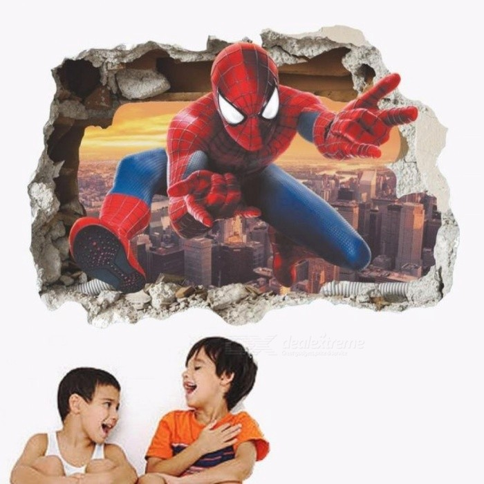 Spider-Man Through Wall 3D Visual Mural Cool Hero Removable Wall Sticker Boys Room Decoration Self Adhesive Baby Bedroom Decal