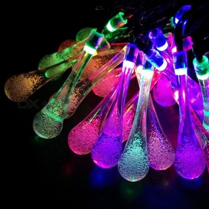 7M LED Raindrop Solar Powered Outdoor String Lights For Outside Garden Patio Party Christmas 2 Modes Multicolor Luces