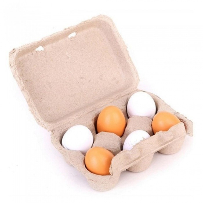 Image of 6pcs Set Wooden Egg Toys For Children Girls Toys Kitchen Toys Minoxidil Pretend Play The Goods For Kitchen Yeast 6pcs Set