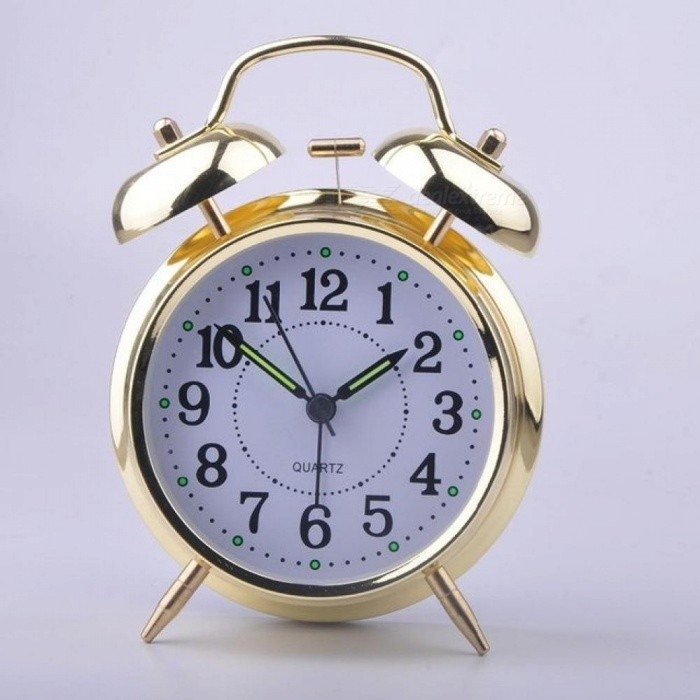 4 Inch Alarm Clock With Loud Alarm Quartz Stainless Metal Alarm Clock Battery Operated Silver & Gold Color Optional