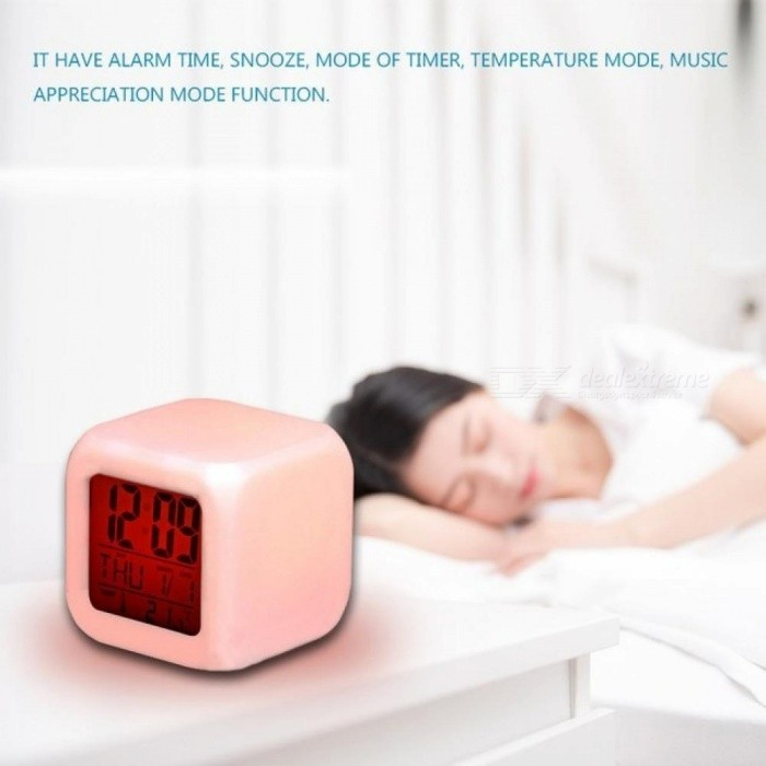 LED Mini Night Light with LCD Digital Thermometer Alarm Clock Function Baby Child Kids Bedroom emergency Gift Desk Decor