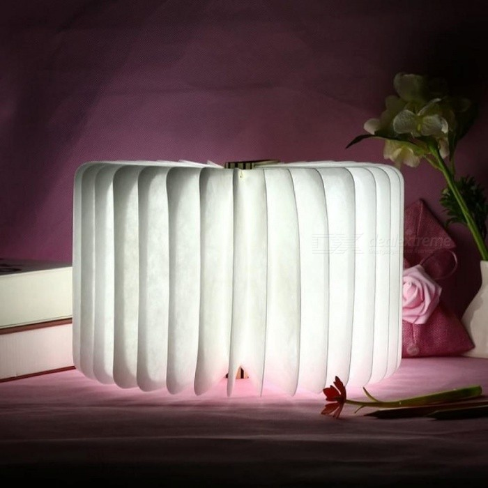 LED Wooden Folding Book Shape Night Light 360 Degree Foldable Rechargeable book Lamp Home Table Desk Ceiling Decor Portable Lamp