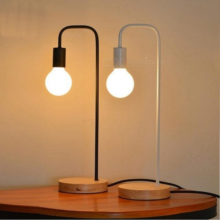 Loft Vintage Desk Lamp With 2 Colors Traditional American Countryside  Wooden Edison Table Lamps Nordic Metal