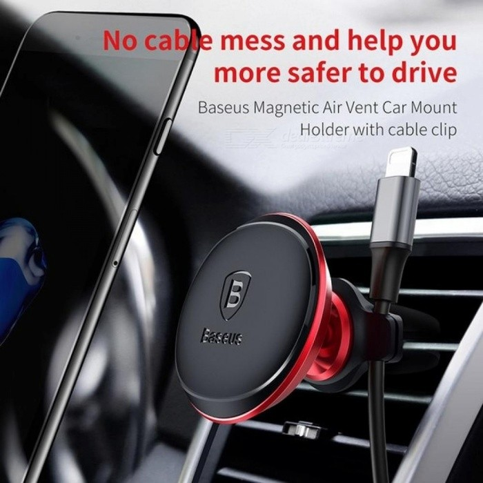 Baseus Cable Clip Car Phone Holder For iPhone 7 6 6s Plus 360 Degree Air Vent Mount Magnetic Mobile Phone Holder Stand