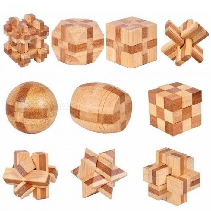 3D Handmade Vintage Ming Lock Luban Lock Wooden Toys Adults Puzzle Children Adult Christmas Gift 10 PCS/Set